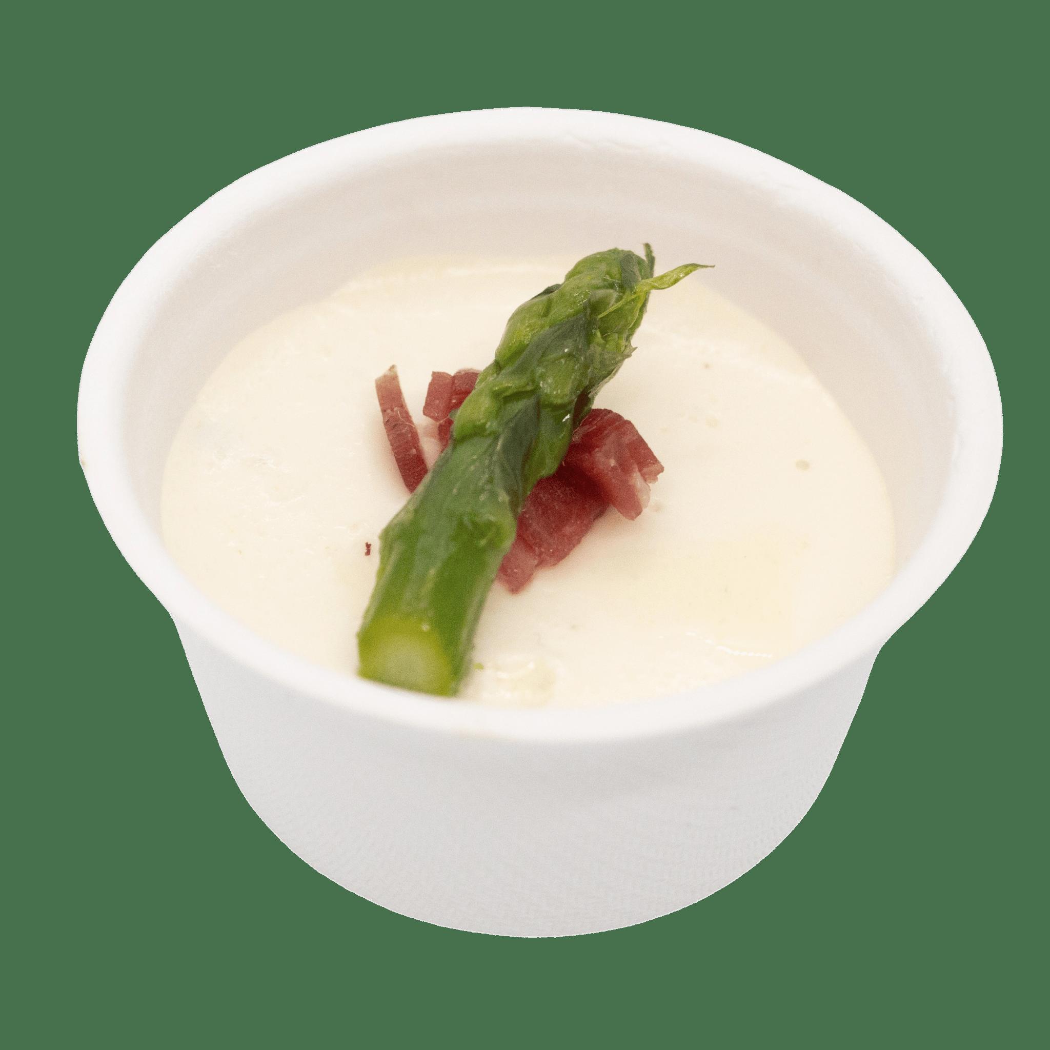 Verrine crème de parmesan, asperges et coppa