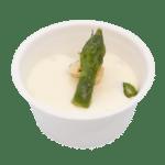 Verrine crème de parmesan, asperges et noisettes