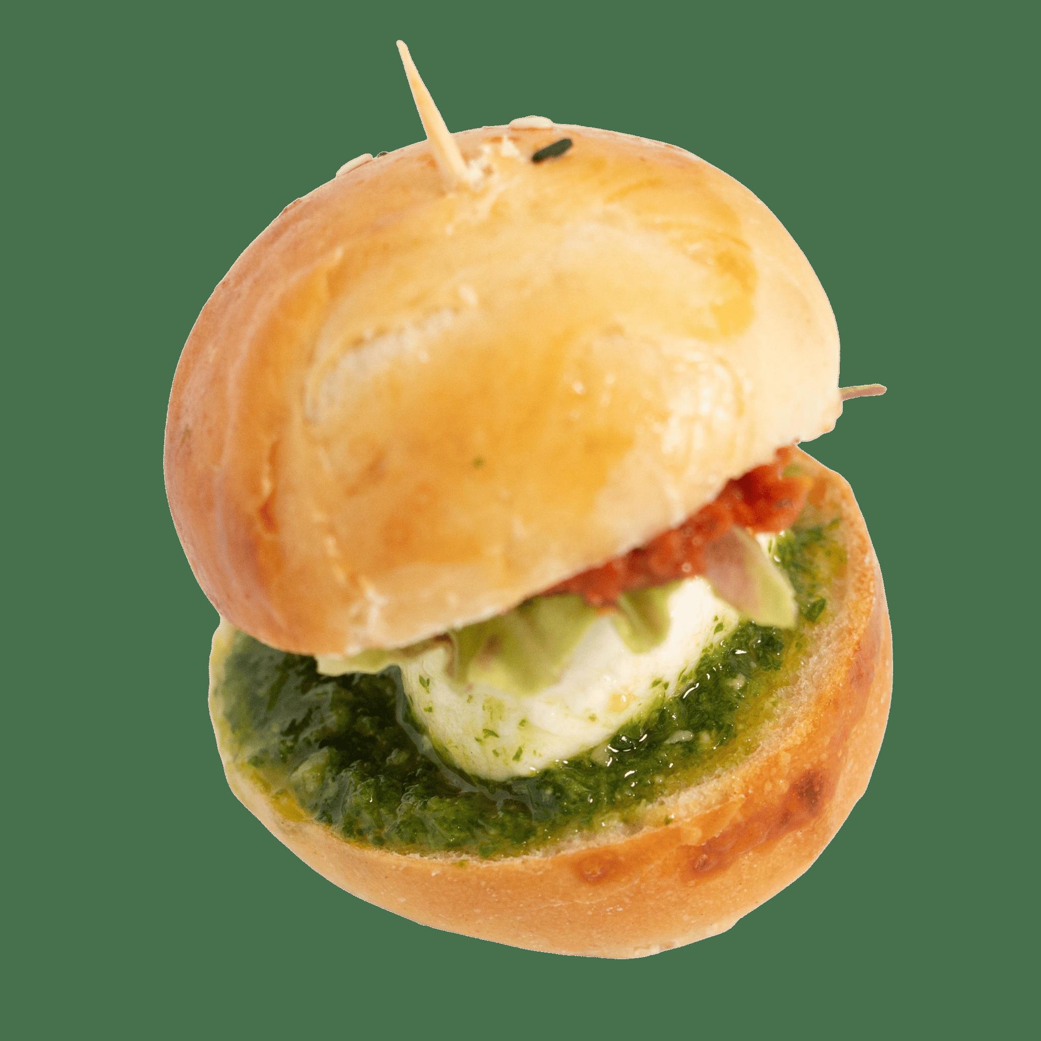 Mini burger mozzarella, tomate séchée et pesto de coriandre