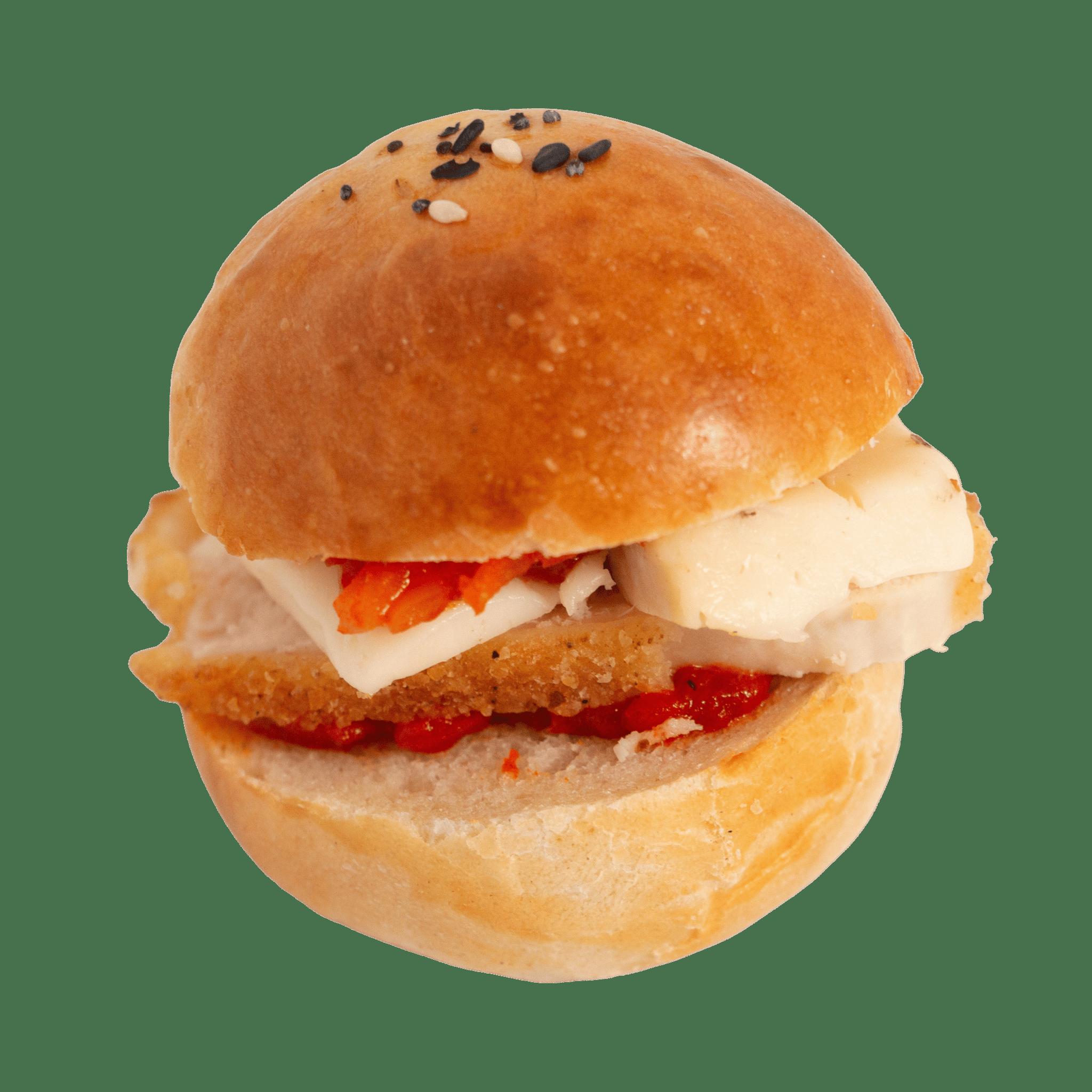 Mini burger au poulet, tomme de Savoie et piquillos