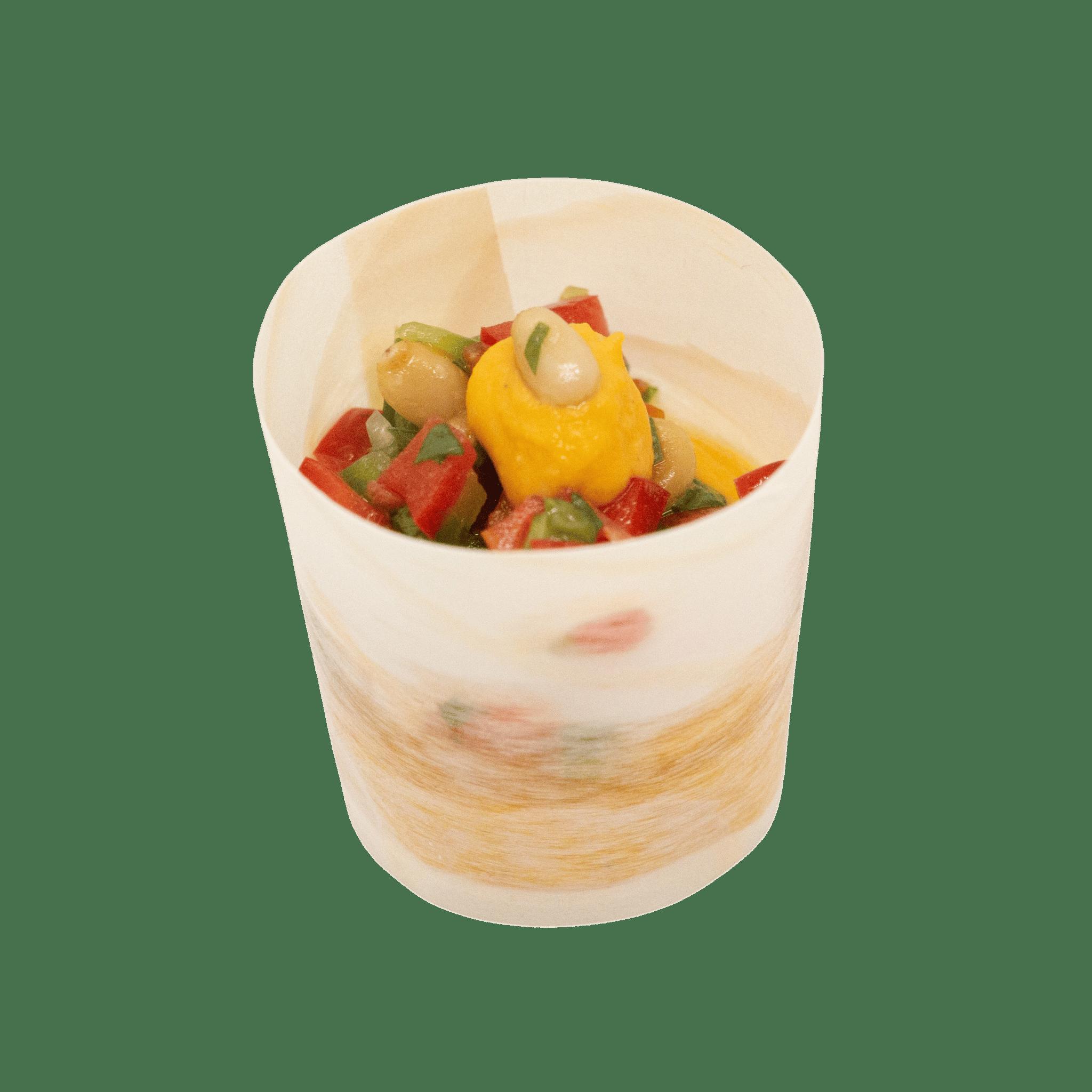 Verrine houmous de carotte, poivron et pignons de pin